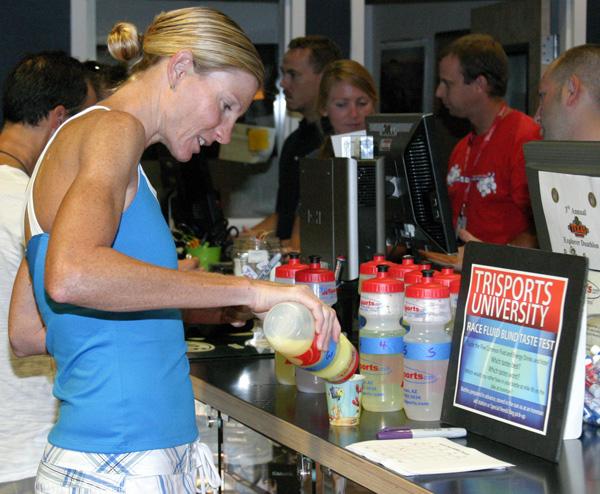Leanda Cave Taste Testing Sports Drinks