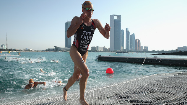 ABU DHABI, UNITED ARAB EMIRATES - MARCH 05: Sarah True of the USA leave the water during the Elite Women's race in the 2016 ITU World Triathlon Abu Dhabi on March 5, 2016 in Abu Dhabi, United Arab Emirates. (Photo by Warren Little/Getty Images)
