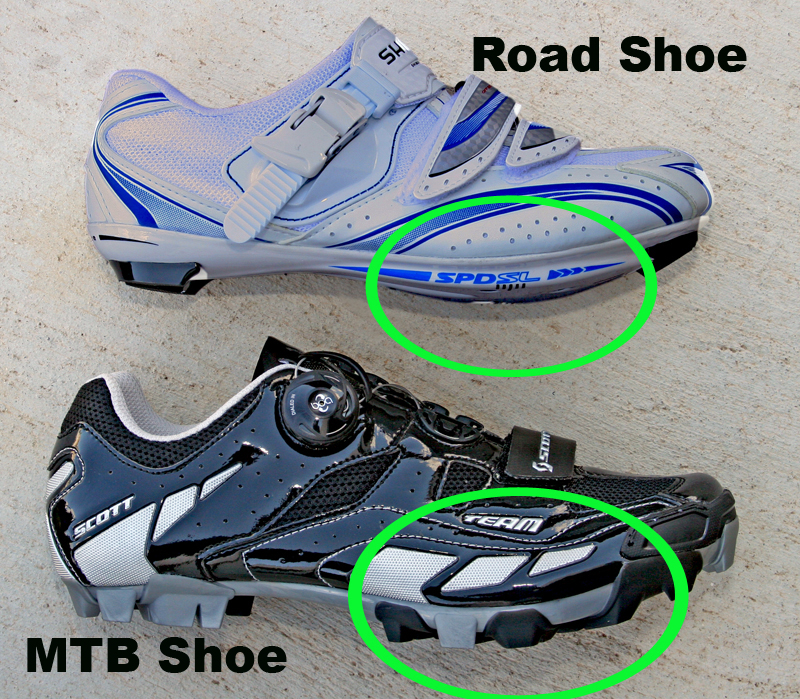 Top A Road Shoe Has A Rigid Outsole Designed Predominantly For Pedaling Bottom Mountain Bike Off Road And Casual Touring Shoes Have A Walkable Outsole